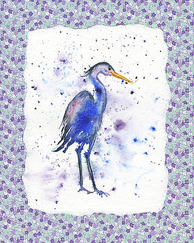 Blue Heron Watercolor by Irina Sztukowski