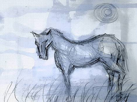 Blue horse on paper by Hae Kim