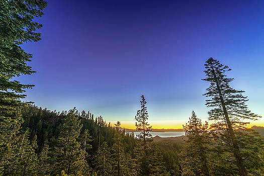 Blue Hour Summer Sunset Over Lake Tahoe with Lots of Trees by Brian Ball