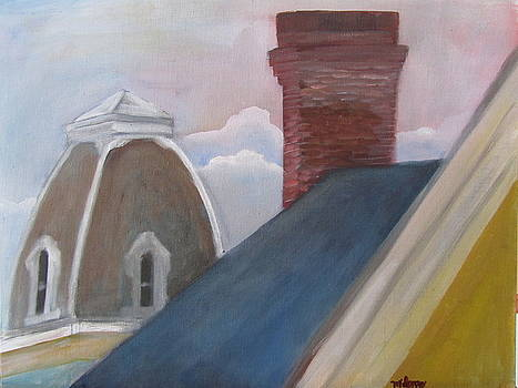 Blue House Roof Top by Maria Milazzo