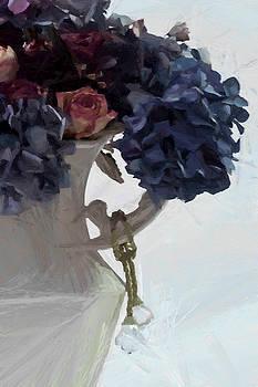 Sandra Foster - Blue Hydrangeas - Digital Gouache