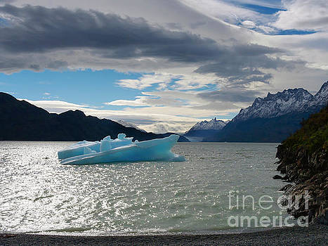 Blue iceberg in Lago Grey with Grey Glacier in the distance by Louise Heusinkveld
