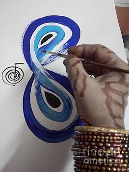 Blue Infinity Hand of The Red Pilgrim by Rizwana Mundewadi