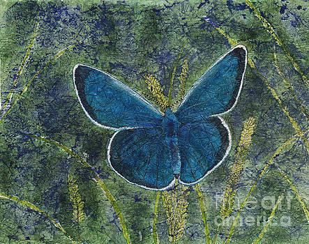 Blue Karner Butterfly Watercolor Batik by Conni Schaftenaar