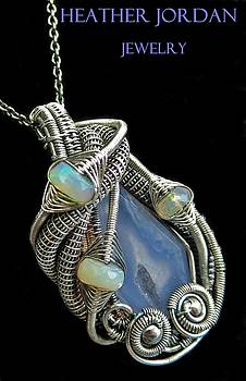 Blue Lace Agate Druzy Pendant Wire-Wrapped in Antiqued Sterling Silver with Ethiopian Welo Opals by Heather Jordan