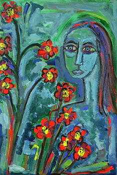 Blue Lady with Red Flowers by Maggis Art