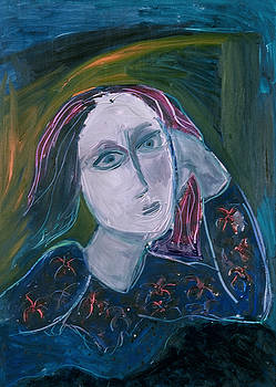 Blue Lady  with Red Hair Abstract by Maggis Art