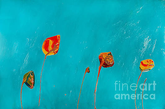 Blue Lollipop Flowers by Laura Warburton
