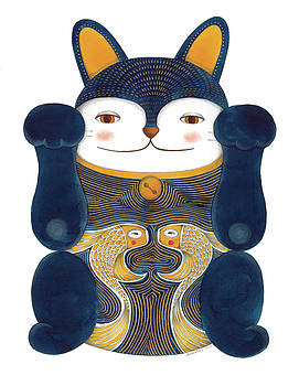 Blue Maneki-neko by Helena Melo