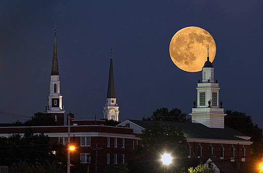 Blue Moon over Church  Circle by Earl Carter