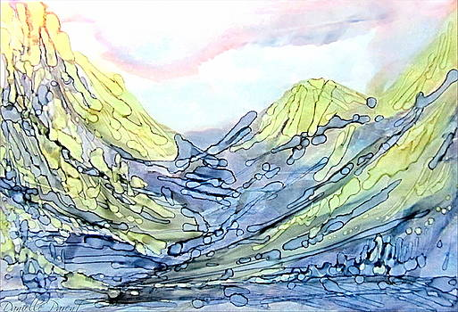 Blue Mountains Alcohol Inks  by Danielle  Parent