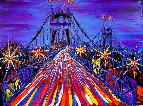 Blue Night Of St. Johns Bridge #17 by Portland Art Creations