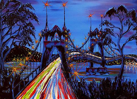 Blue Night Of St. John's Bridge #29 by Portland Art Creations