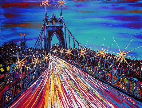 Blue Night Of St. John's Bridge #30 by Portland Art Creations