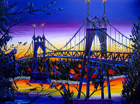 Blue Night Of St. Johns Bridge #36 by Portland Art Creations