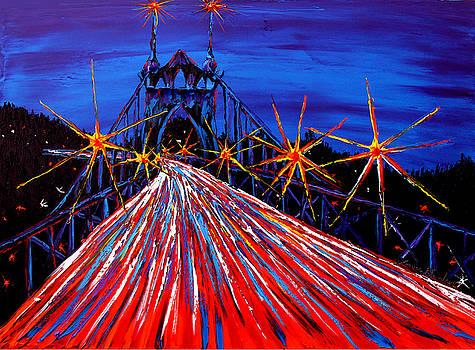 Blue Night Of St. Johns Bridge #50 by Portland Art Creations