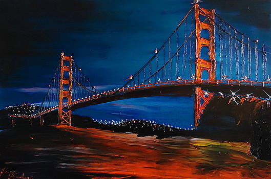 Blue Night Of The Golden Gate Bridge 1 by Portland Art Creations