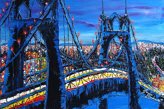 Blue Night Of The St. Johns Bridge 5 by Portland Art Creations