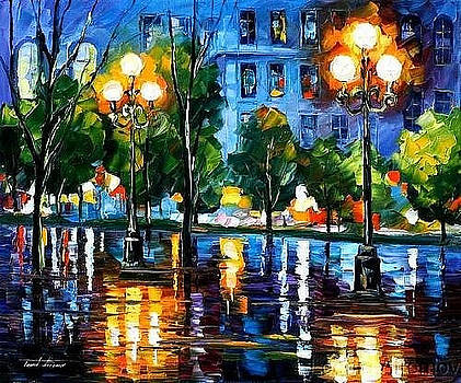 Blue Night - PALETTE KNIFE Oil Painting On Canvas By Leonid Afremov by Leonid Afremov