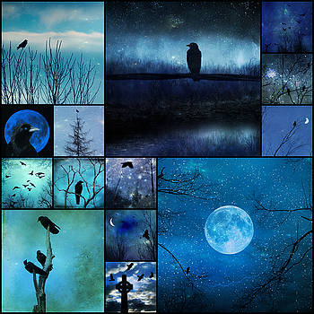 Blue Night Stars And Crows by Gothicrow Images