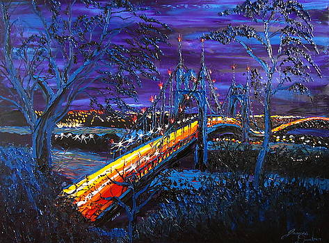 Blue Nights Of The St. Johns Bridge 4 by Portland Art Creations
