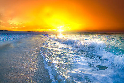 Blue Ocean Landscape Wave Photography Red Surise by Eszra Tanner