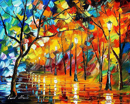 Blue Of The Fire - PALETTE KNIFE Oil Painting On Canvas By Leonid Afremov by Leonid Afremov