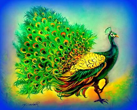 Blue Peacock by Yolanda Rodriguez