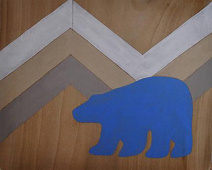 Blue Polar Bear on Wood with Chevron by Nicole Dietz
