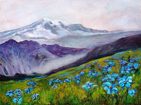 Blue Poppy Field by Wendy Ray