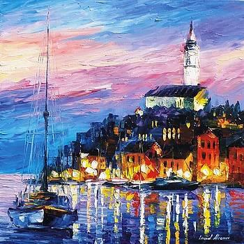 Blue Port - PALETTE KNIFE Oil Painting On Canvas By Leonid Afremov by Leonid Afremov