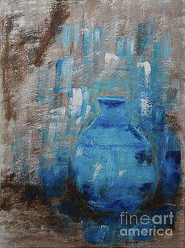 Blue Pottery Vase Painting by Catalina Walker