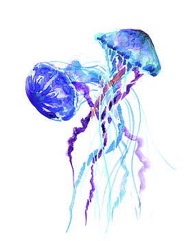 Blue Purple Jellyfish Artwork design by Suren Nersisyan