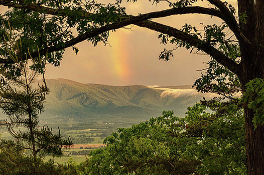 Blue Ridge Misty Mountain Rainbow by Lara Ellis