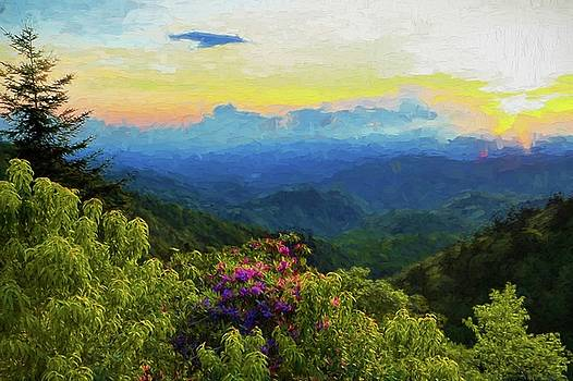 Blue Ridge Parkway And Rhododendron Painting by Carol Montoya