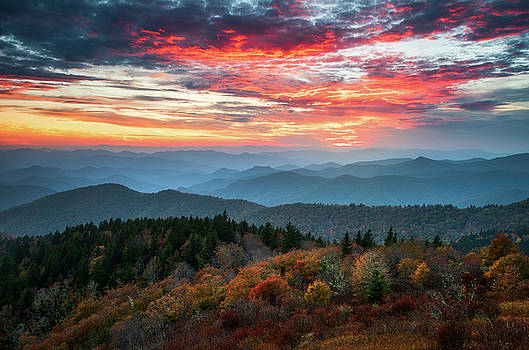 Blue Ridge Parkway Autumn Sunset Scenic Landscape Asheville NC by Dave Allen