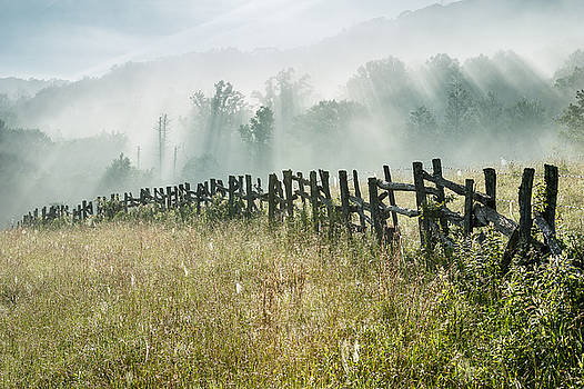 Blue Ridge Parkway Fence and Light Shower by Mark VanDyke