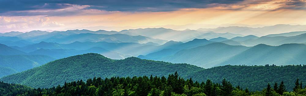 Blue Ridge Parkway NC Cowee Mountains Panorama by Robert Stephens