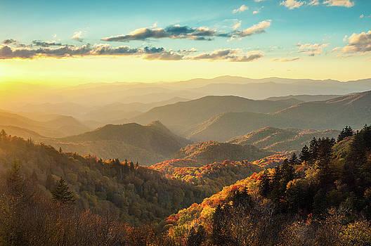 Blue Ridge Parkway NC Golden Autumn Light by Robert Stephens