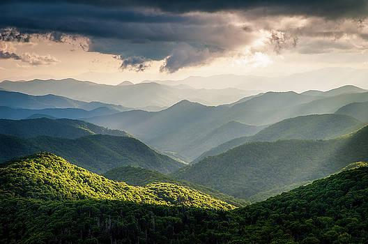 Blue Ridge Parkway NC Scenic Light Rays Landscape by Robert Stephens