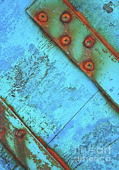 Blue rusty boat detail by Lyn Randle