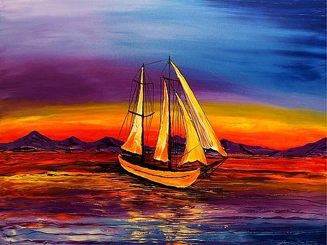 Blue Sails #2 by Portland Art Creations