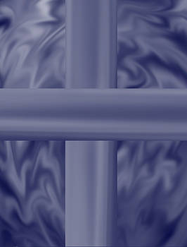 Blue Satin Cross by Anne Norskog