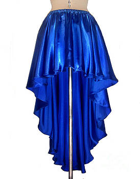 Sofia Metal Queen - Blue satin high-low skirt. Ameynra design. pic-1