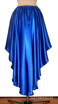 Sofia Metal Queen - Blue satin high-low skirt. Ameynra design. pic-2