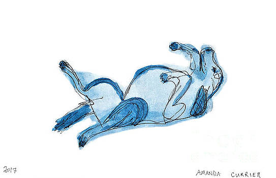 Blue Scribble Dog by Amanda Currier