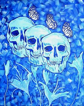Blue Skulls Flowers and Butterflies by Phillip J Speciale