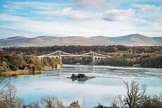 Blue Sky at Menai Bridge, North Wales by Christine Smart