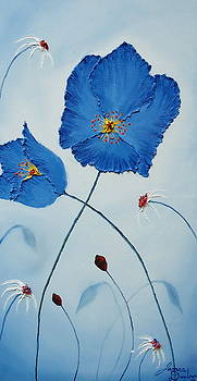 Blue Sky Blue Poppies 1 by Portland Art Creations