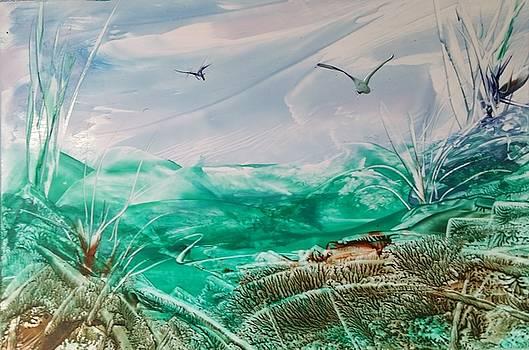 Blue sky with birds by Lorraine Bradford